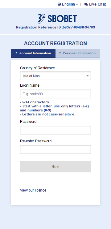 Enter your preferred login name and password to register SBOBET Account