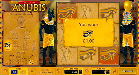 Jewels of Anubis Win Message