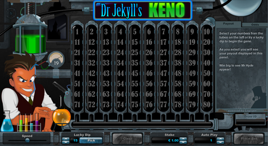 Dr Jekyll's Keno Entry Screen