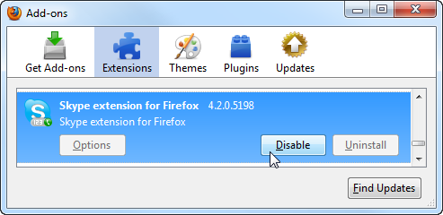 Disable Add-ons under the Extensions screen in Firefox 3