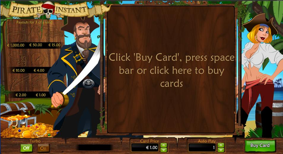 Pirate Instant Entry Screen