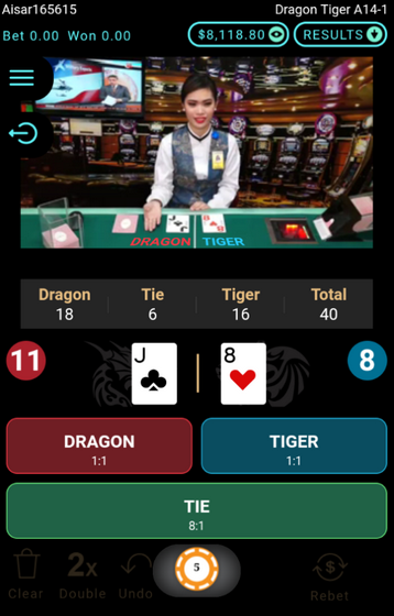Live Dragon Tiger Game Table