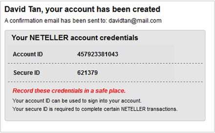 Successful set up of NETELLER account.