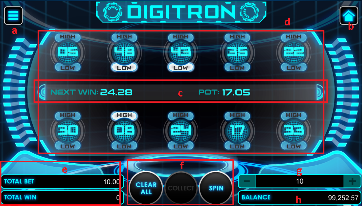 Digitron game user interface