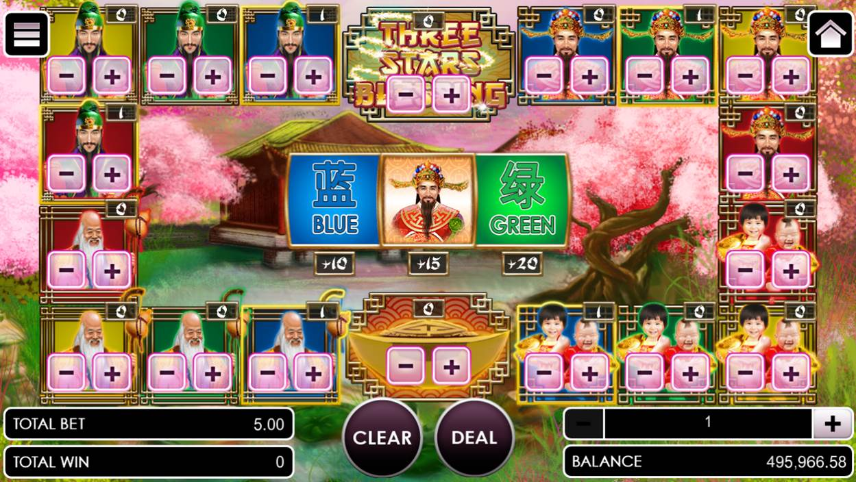 Three stars blessing game with betting option selected