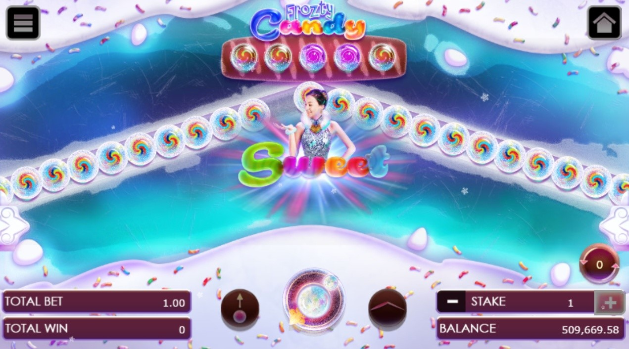 Frozty candy game with the light indicator spinning around the betting options