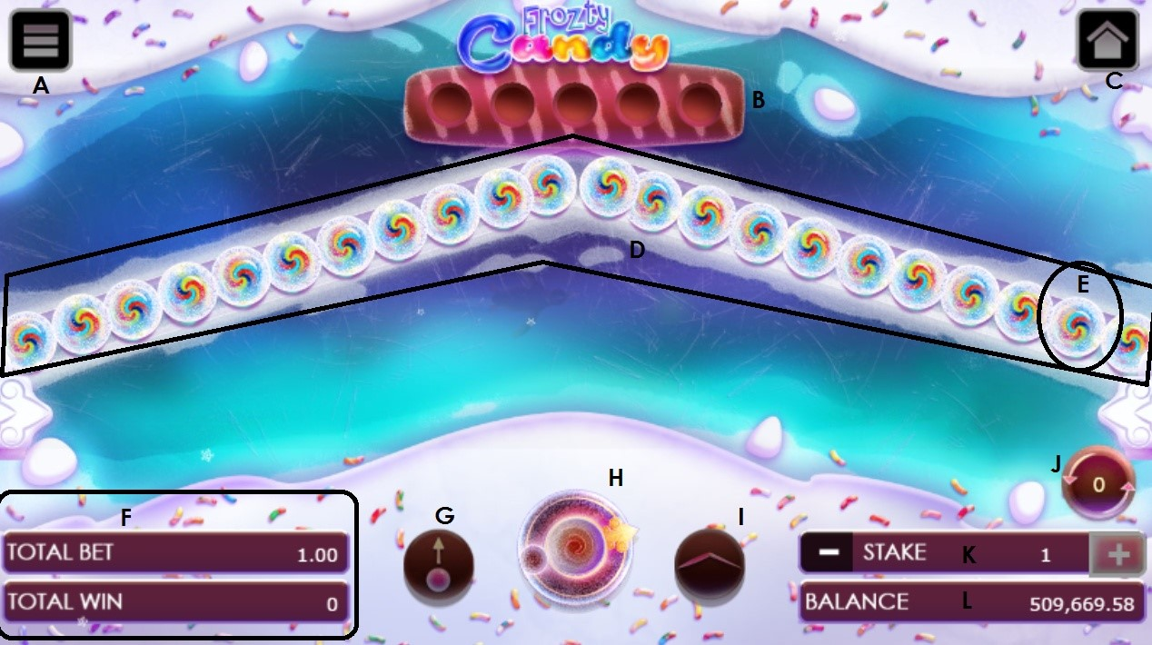 Frozty Candy game user interface