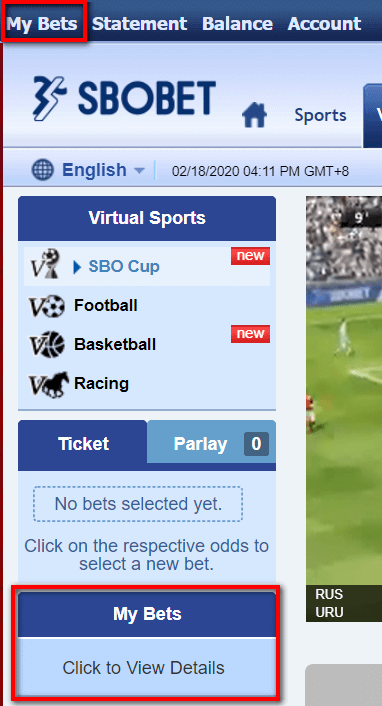 Virtual Horse Racing view my bets