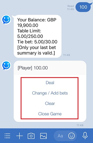 Line Royal Baccarat confirm the bet