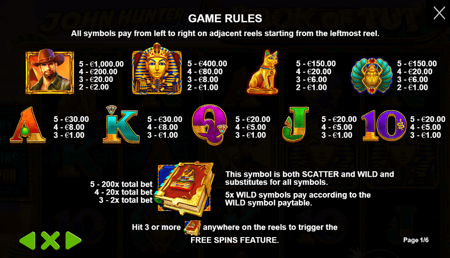 John Hunter and the Book of Tut Slot_Game Rules