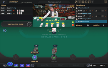 Live Blackjack Gaming Screen